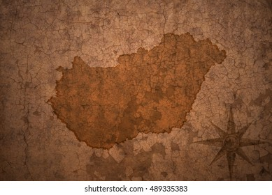 hungary map on a old vintage crack paper background
