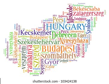 Hungary map and words cloud with larger cities