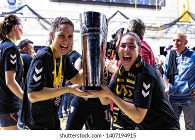 Siófok, Hungary - May 11,2019:The handball player ELGHAOUI Asma & GONZALEZ ALVAREZ Mireyaduring the game between Siófok KC vs Team Esbjerg for 2018/2019 EHF Cup - Final.