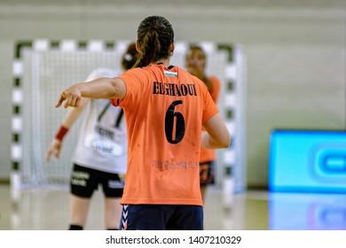 Siófok, Hungary - May 11,2019:The handball player ELGHAOUI Asma during the game between Siófok KC vs Team Esbjerg for 2018/2019 EHF Cup - Final.