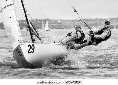 BALATONFÖLDVAR, HUNGARY - May 28. 2013: Flying Dutchman World Championship 2013, Balaton, Hungary