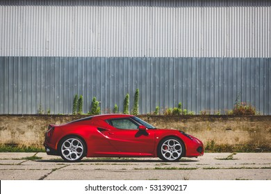 Hungary, Nagykanizsa 26 June, 2016: Alfa Romeo 4C hits the roads of Hungary