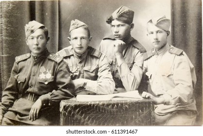 HUNGARY, NAGYKANIZSA - CIRCA 1945: Vintage photo of Red Army soldiers - liberators of Hungary. Soviet Army soldiers 1945 World War Two