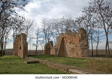 HUNGARY - NOVEMBER 17 : Ruined medieval church at 17 November 2015 in Hungary. Medieval Hungary was full of churches, most of them left in ruins now.