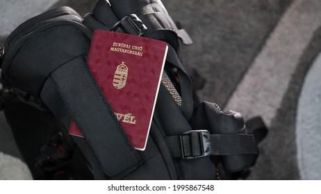Hungary Passport on a Black Suitcase Travel Bag - Hungarian