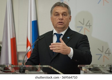 Hungary Prime Minister Viktor Orban attends a news conference during the summit meeting of the Visegrad Four (V4) and South Korea in Prague, Czech Republic, December 3, 2015.