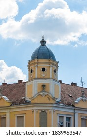 Gyöngyös / Hungary - September 2020: Beautiful old bank building on the main square from 1895.