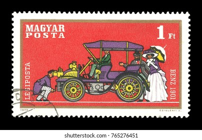 Hungary - stamp 1970, Issue Means of transport, Series Airpost -  Automobiles, Benz 1901