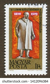 Hungary stamp circa 1970: a stamp printed in Hungary shows Chairman of the Communist Party of the Soviet Union, Lenin's 100th Birthday (1870-1970).