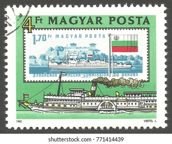 Hungary - stamp printed 1981, Multicolor Edition, Topic Ships and Steam Engines, Series Danube Commission, Paddlesteamer Zsofia, 1914