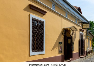 Hungary Szentendre Apr. 25.  2018: Tourists are walking on the streets of Szentendre. Street view. Life of town. City coffe with people. Szentendre is a small but bustling town near Budapest,