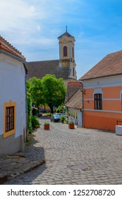 Hungary Szentendre Apr. 25. 2018: Streets of Szentendre. Typical street view of the old town.  Szentendre is  small but bustling place near Budapest,