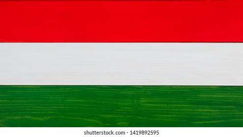 Hungary - tricolor flag background - Hungarian national banner, made from natural wood and paint.