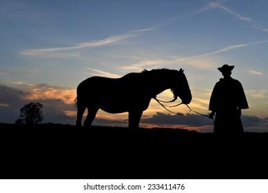 Hungaryan wrangler whith his horse,on sunset