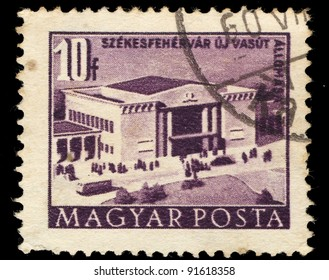 HUNGARY-CIRCA 1958: A stamp printed in Hungary shows image of station in Szekesfehervar, circa 1958
