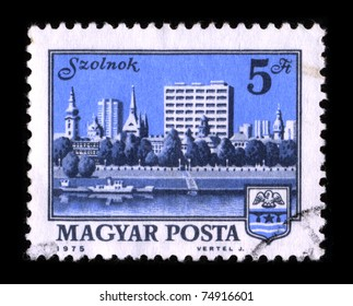 HUNGARY-CIRCA 1975:A stamp printed in HUNGARY shows image of the Szolnok is the county seat of Jasz-Nagykun-Szolnok county in central Hungary, circa 1975.