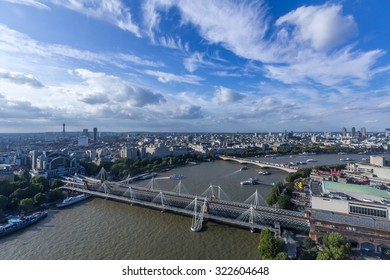 Hungerfold Bridge and Goldden Jubilee Bridge in London, UK