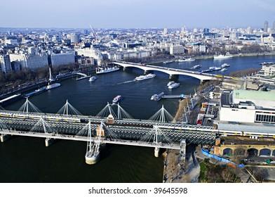 Hungerford bridge seen from London Eye in England