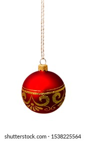 Hunging red christmas ball isolated on a white background