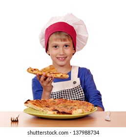 hungry boy chef eat pizza on white