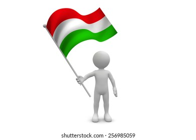 Hungry Flag waving isolated on white background