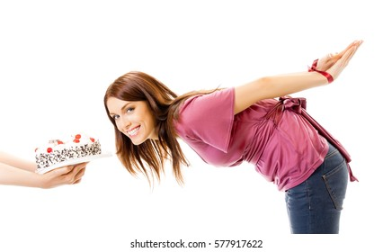 Hungry girl with the connected hands and pie, isolated on white background