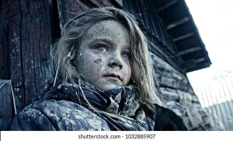 Hungry homeless child. Apocalypse