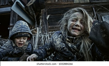 Hungry homeless children. apocalypse