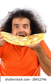Hungry man eating a tasty pizza .