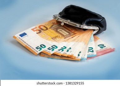 hungry wallet with thousand euro, finance currency isolated on blue background