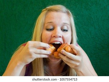 Hungry Woman Stuffs Face Mouth With Fried Food