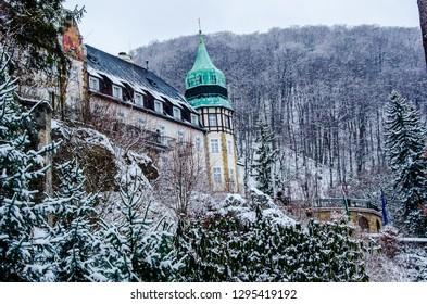 Hunguest Hotel Palota in winter, Miskolc, Hungary, winter snowy landscape