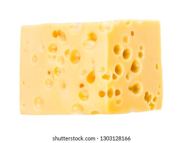 hunk of yellow medium-hard cow's milk swiss cheese with internal holes isolated on white background