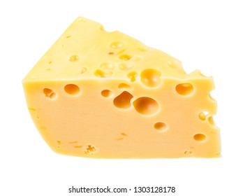 hunk of yellow semi-hard cow's milk swiss cheese with internal holes isolated on white background