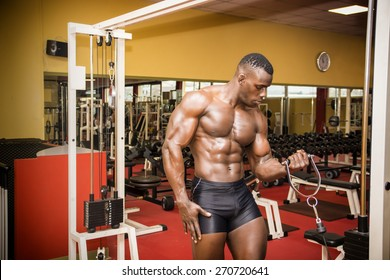Hunky muscular black bodybuilder working out in gym, exercising biceps on machine.