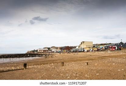 Hunstanton, Norfolk, UK  08/20/2018 Bleak overcast beach scene