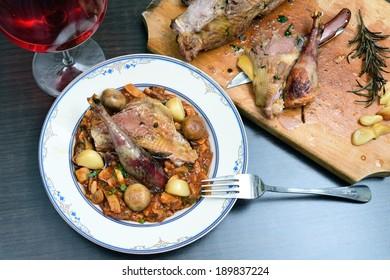 Hunted pheasant mushroom stew
