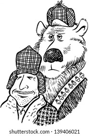 Hunter and Bear pen and ink cartoon