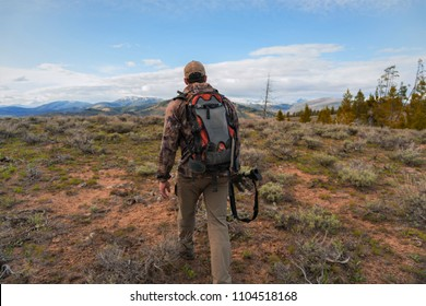 Hunter in beautiful Idaho wilderness near Stanley, Idaho