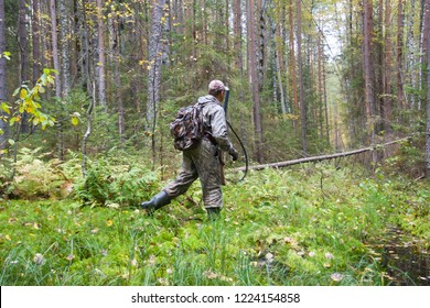 hunter in camouflage passes a damp place in a pine forest