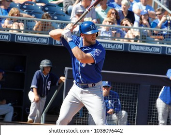 Hunter Dozier 3rd baseman for the Kansas City Royals at Peoria Sports Complex in Peoria , Arizona USA March 2, 2018.