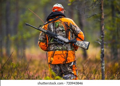 Hunter in the fall hunting season