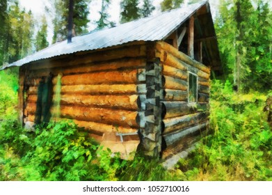 Hunter hut in taiga with drying fishing nets on the wall illustration