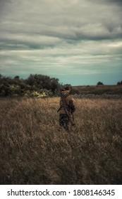 Des chasseurs se tenant dans un champ rural et observant la distance au beau coucher du soleil pendant la chasse