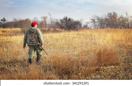 Hunter moving with shotgun looking for prey. Hunter with a gun. Hunting for hare