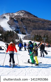 Hunter, NY, USA Skiers prepare themselves to take on the highest peak at a resort in Hunter, New York