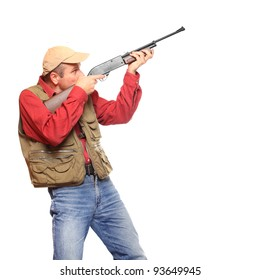 Hunter with rifle on a white background.