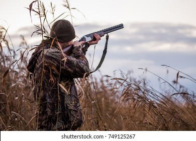 Hunter shooting in the field