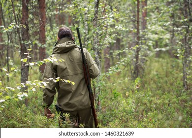 Hunter with shotgun walking in the forest. Hunting season. Fowling piece. Wild nature background