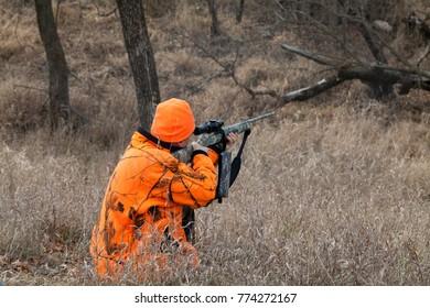 Hunter stalking his prey